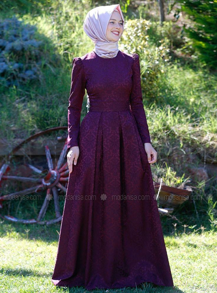 Alya Brocade Dress - Purple - Kübra Biriktir