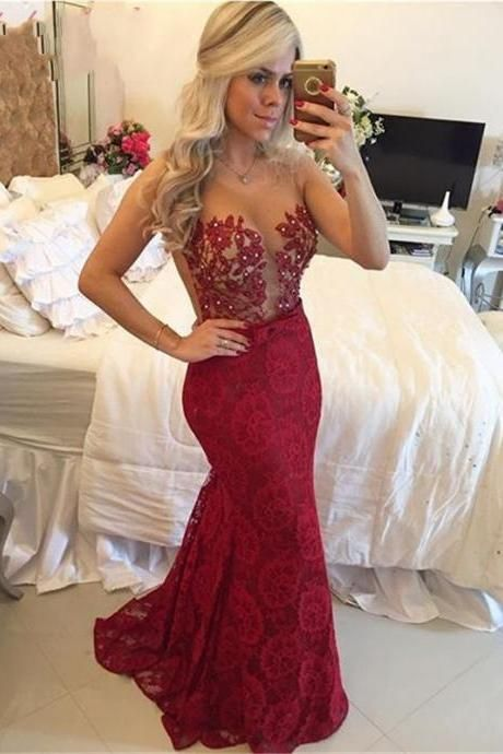 2017 Illusion Sheer Burgundy Lace Prom Dresses Long Red Wine Color Party Dress Sexy See Through Gala Gowns Floor Length