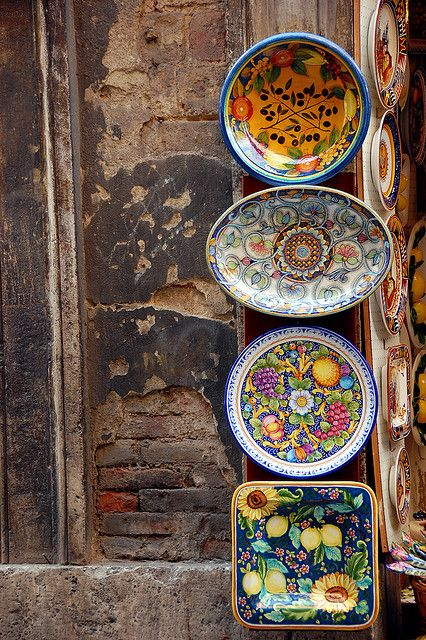 hippie bohemian mixed pattern home decorating ideas - Colorful ceramics, Siena, Italy