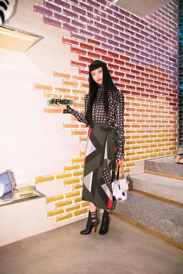 Yuka Mannami fits right in at the #FendiOmotesando event in Tokyo! #FendiSS17