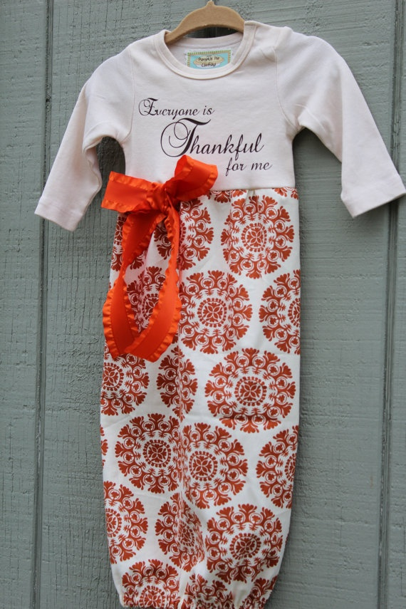 Newborn Layette Gown Thanksgiving / Fall by PumpkinPieClothing, $28.00