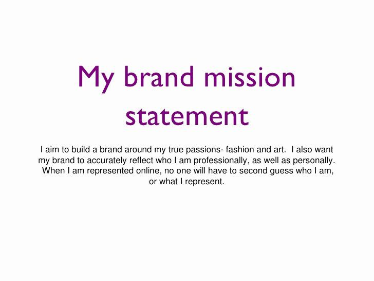 Example Of Personal Brand Statement Fresh Slide Mission Your