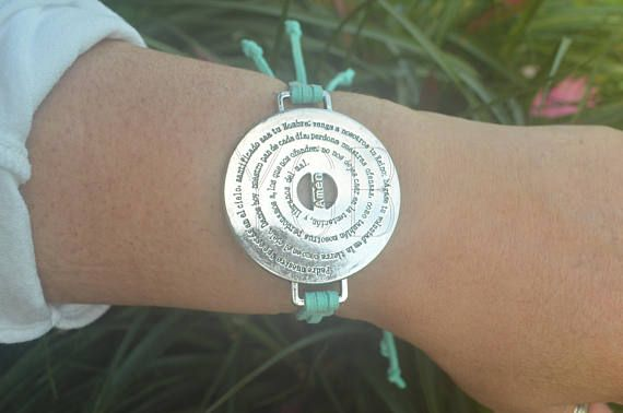 Adjustable Aqua Leather Bracelet - Silvertone Charm with Padre Nuestro prayer