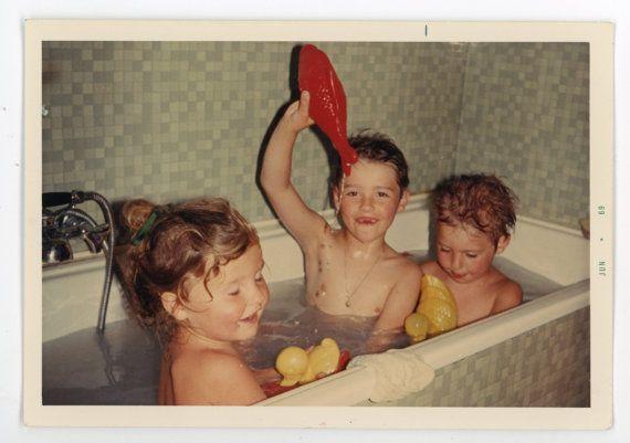 Bath tub fun original vintage 60s photograph by GRAINSofBrussels