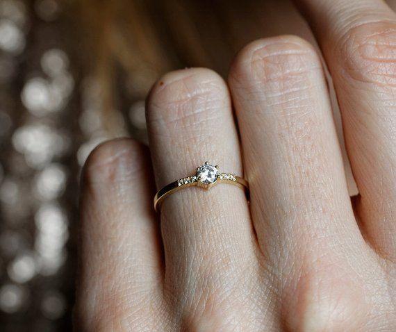 Round Diamond Ring Pave Diamond Band Simple Diamond Engagement Ring With Natural Diamond Gold Diamond Engagement Ring In 2020 Diamond Wedding Bands Unique Engagement Rings Diamond Engagement