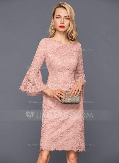 eaf42081 Sheath/Column Scoop Neck Knee-Length Lace Cocktail Dress (016140380 ...
