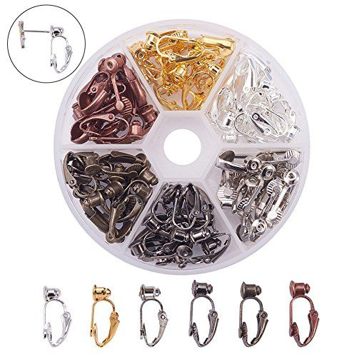 d5c7a0b8f PandaHall Elite 36 Pcs Brass Clip-on Earring Converter Co... https: