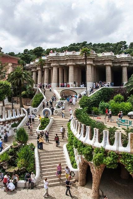 Gaudi steps in Park Guell, Barcelona, Catalonia