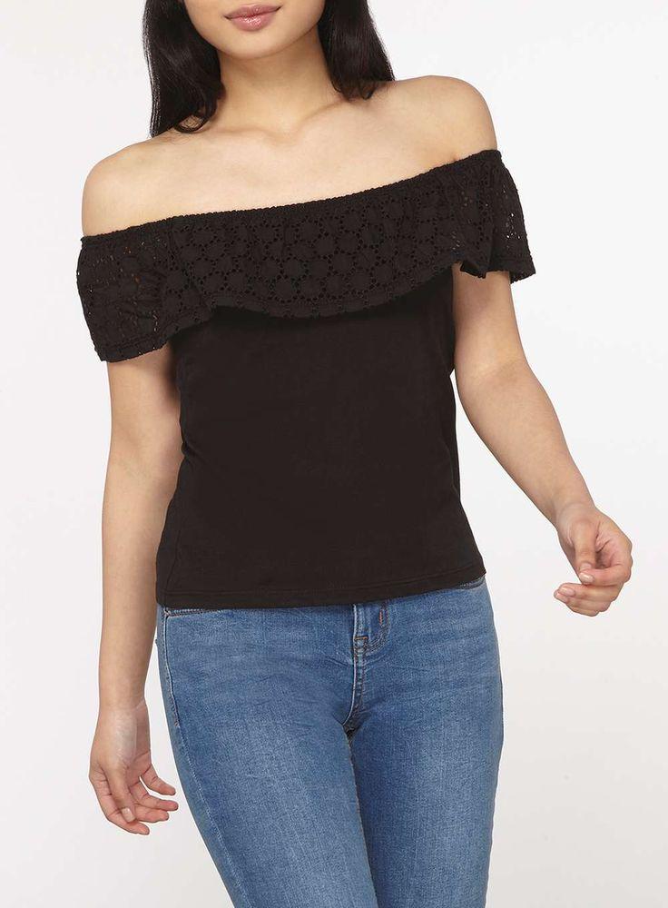 Womens Petite Black Lace Fold Over Bardot Top- Black
