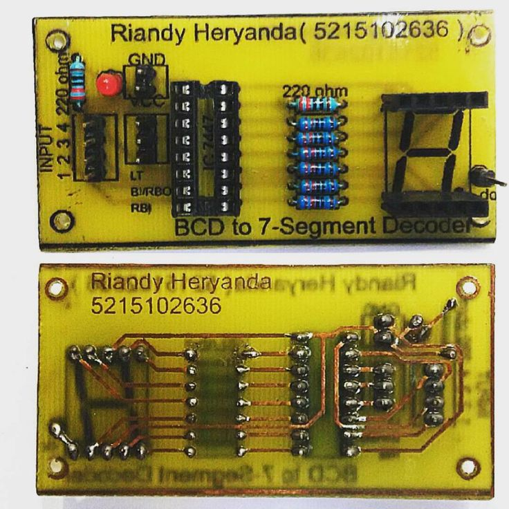 BCD to Seven-Segment Decoders/Drivers (demultiplexer) with IC 7447.  DIY Printed Circuit Board (PCB), Handmade procces, PCB board design with EAGLE 6.1.0 Software, Layout PCB  designed by Riandy Heryanda Oey. #PCB #printedcircuitboard #circuitboard #electroniccircuit #easilyapplicablegraphicallayouteditor #EAGLE #handmade #homemade #DIY #print #electronicprojects #electronicsproject #electronicengineer #electronicengineering #electronic #layout #design #electronicdesign #designer…