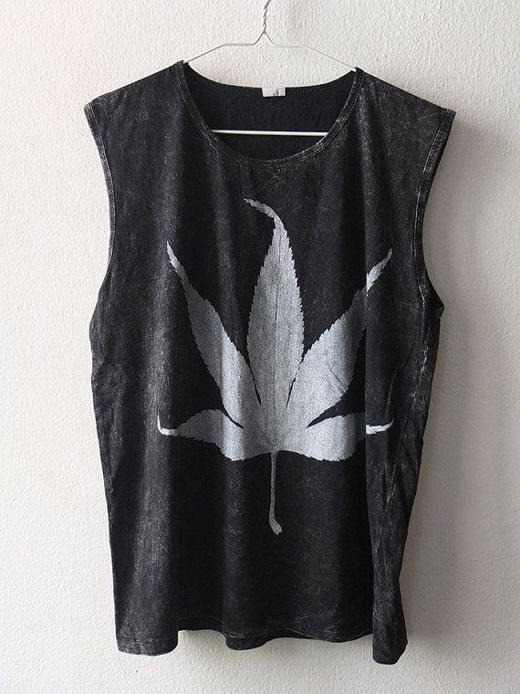 Stoner Marijuana weed hemp leaf Fashion Stone Washed Tank Top Vest M