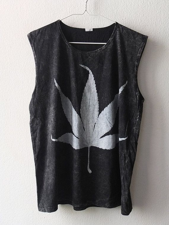Stoner Marijuana weed hemp leaf Fashion Stone Washed Tank Top Vest M