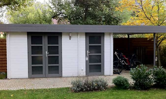 Gartenhaus mit Flachdach und Schleppdach