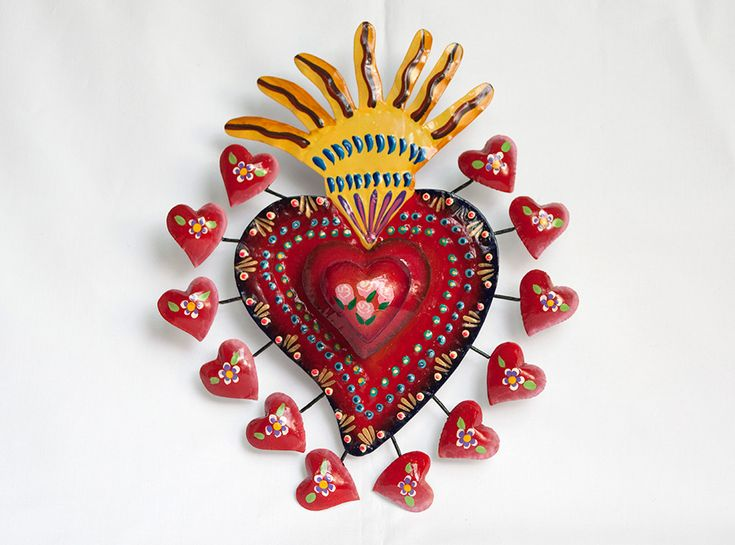 Tin heart sculpture is handmade in San Miguel de Allende, Mexico