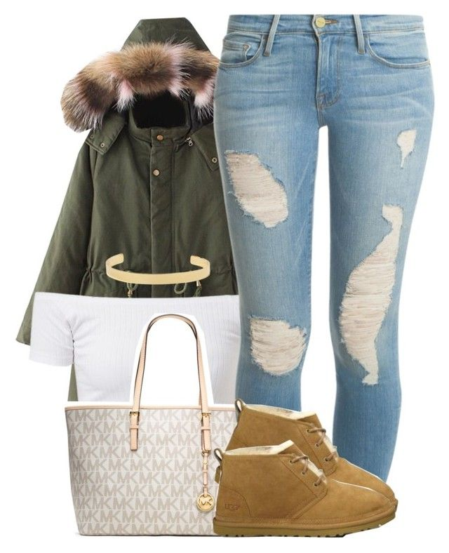 """""""Fall Trend 2016: Fur 🍃🍂🍁"""" by trinsowavy ❤ liked on Polyvore featuring MICHAEL Michael Kors, Frame Denim, UGG Australia and Jennifer Fisher"""