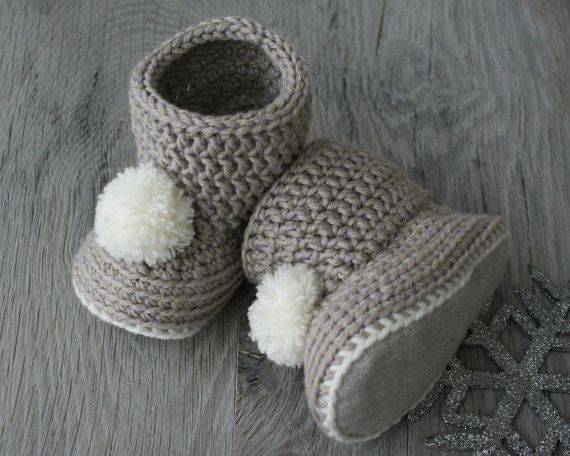 Merino Wool- Cotton Baby Girl Boots in Beige,, with Fabric Soles, Size 3-6 months, Baby Christmas Gift, ready to ship
