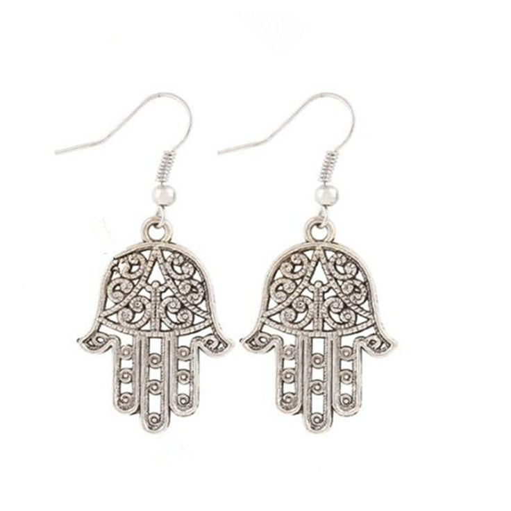 New Ancient Personality The Punk Hollow Out Hand Of Fatima Earring Creative Joker Jewelry Eardrop Femininity Holiday Gift
