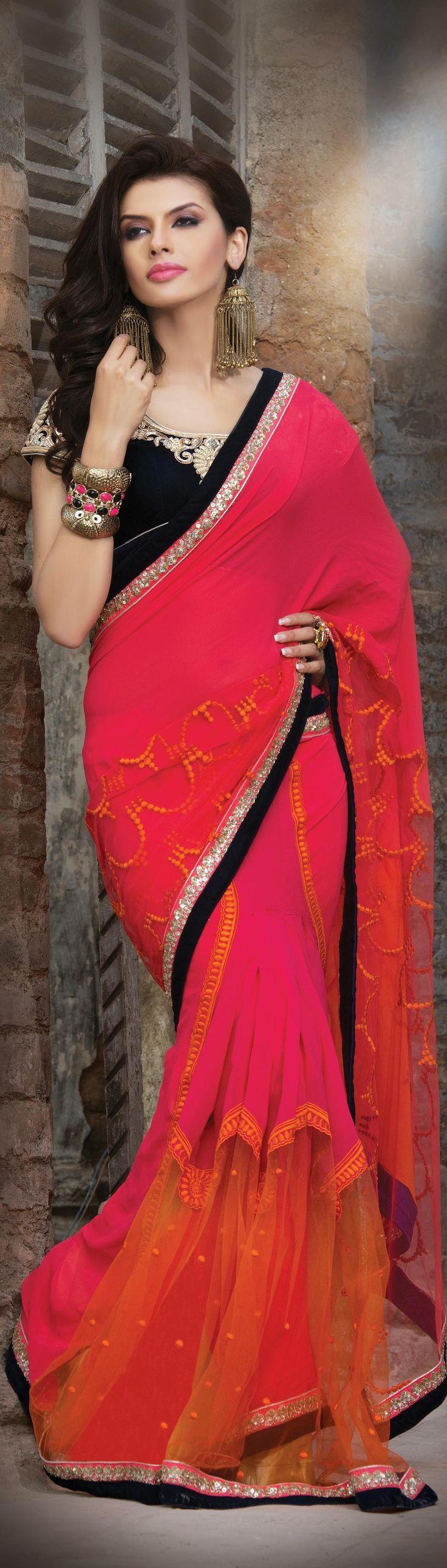 Super stylish #Fuchsia and #Coral #Partywear #Lehenga #Saree available online at http://www.vivaahfashions.com/Sarees/plushy-coral-&-fuchsia-embroidered-saree