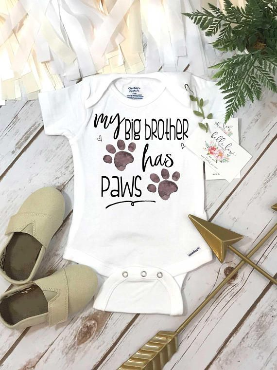 My Big Brother Has Paws Pregnancy Announcement Dog Shirt #pregnancyannouncementshirts,