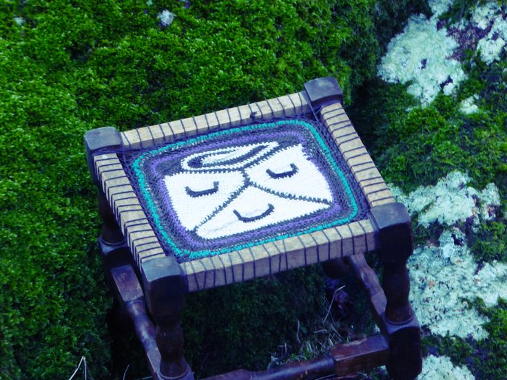 free hand designed upcycled stool all in hemp twine...White Wizard Glyph...
