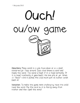 Your students can practice reading/spelling words with the ou/ow sound in this fun game! Place cards in a jar and pass around. Students must read/s...