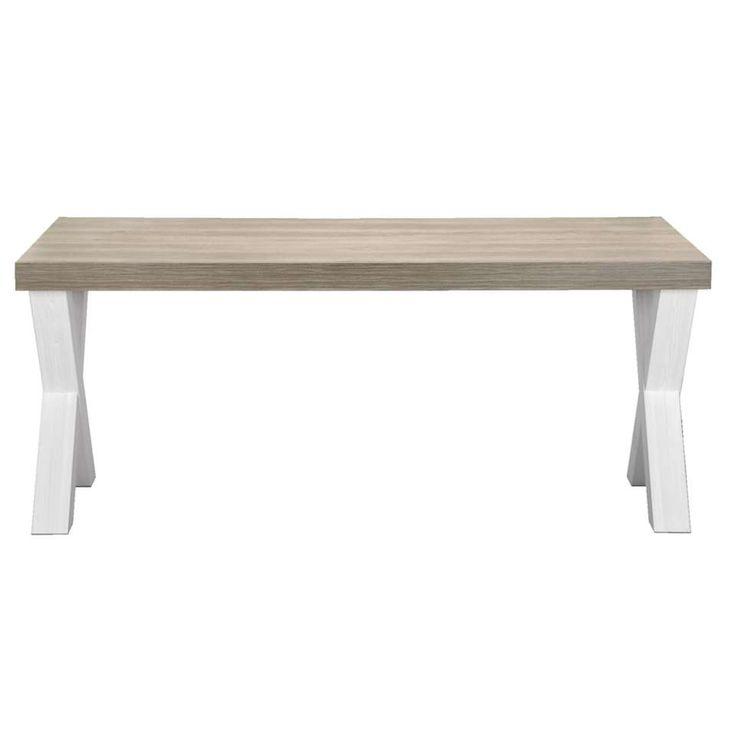 Eetkamertafel Lynn - wit eikenkleur/bruin - 77,5x138x102 cm