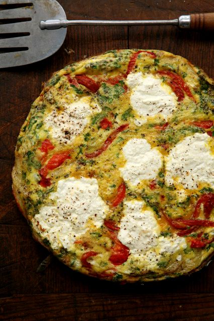 Ricotta and Roasted Pepper Frittata  (Frittata con Ricotta e Peperoni) Calabrians in Italy sometimes add sliced cured sausage to this popular frittata on Easter, to celebrate the end of Lent.