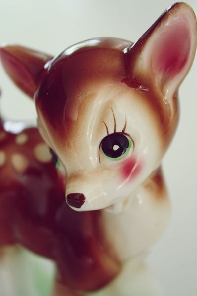 Rosy cheeked fawn adorableness. #vintage #deer #kitsch
