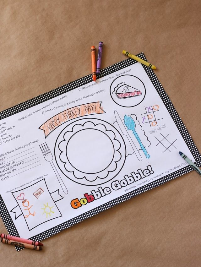 My Sister's Suitcase: Kids Thanksgiving Placemat + 12 FREE Thanksgiving Printables