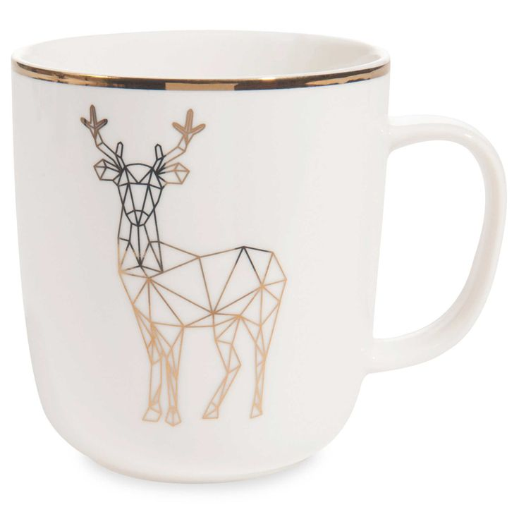 Mug motif cerf en porcelaine    - lot de 2