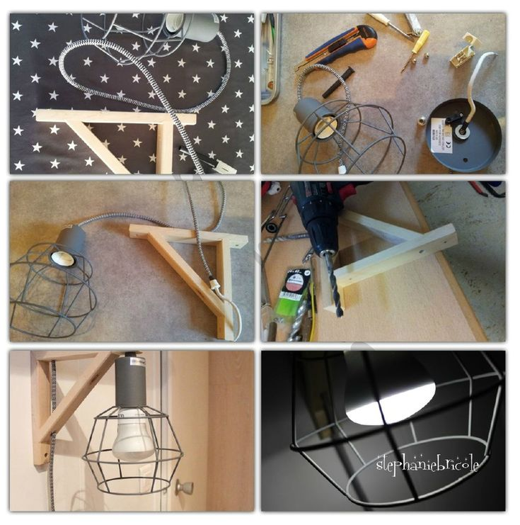diy deco faire soi m me une applique lumineuse originale avec une querre et une lampe. Black Bedroom Furniture Sets. Home Design Ideas