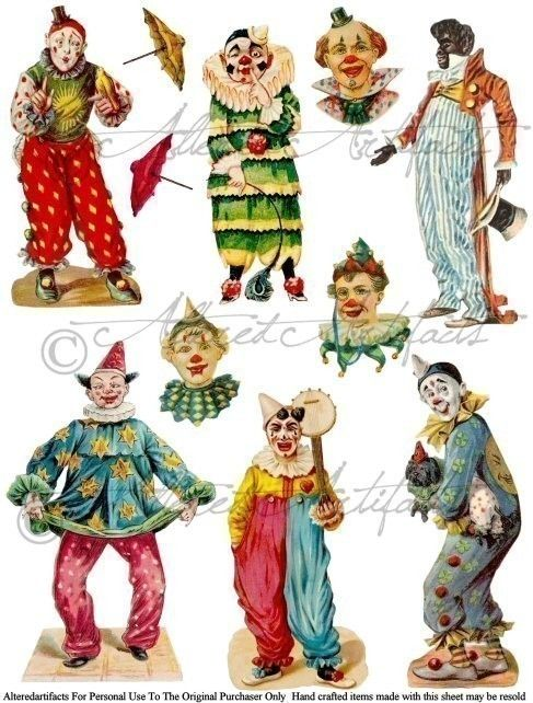 Foolish Folies Circus Clowns Jesters Vintage Altered Art Scrap Digital Collage Sheet for your Puppet Theaters via Etsy