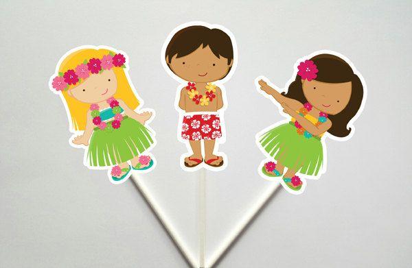 Luau Party Cupcake Toppers, Tiki Party Cupcake Toppers, Hawaii Cupcake Toppers by CraftyCue on Etsy