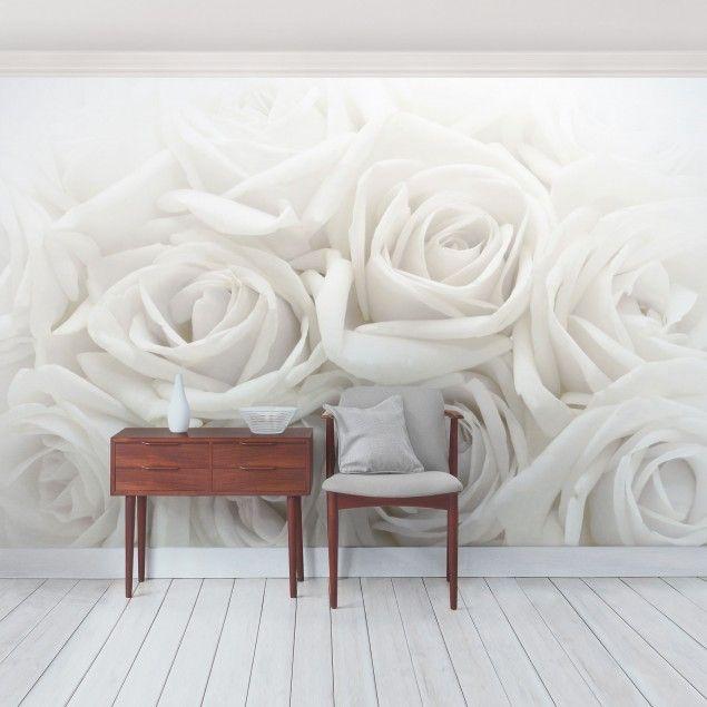Rosentapete - Selbstklebende Tapete - Blumentapete - Fototapete Weiße Rosen