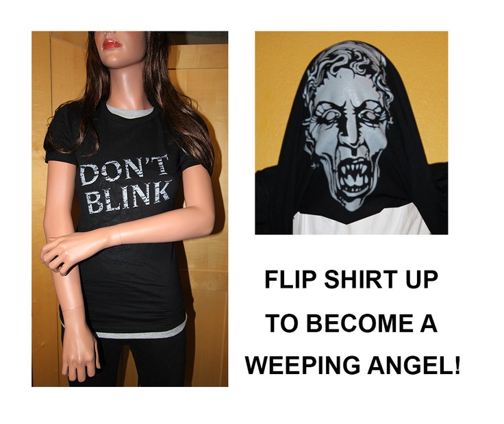 DON'T BLINK - Doctor Who Inspired Womens FITTED Flip up Shirt with Weeping Angel. $19.95, via Etsy.