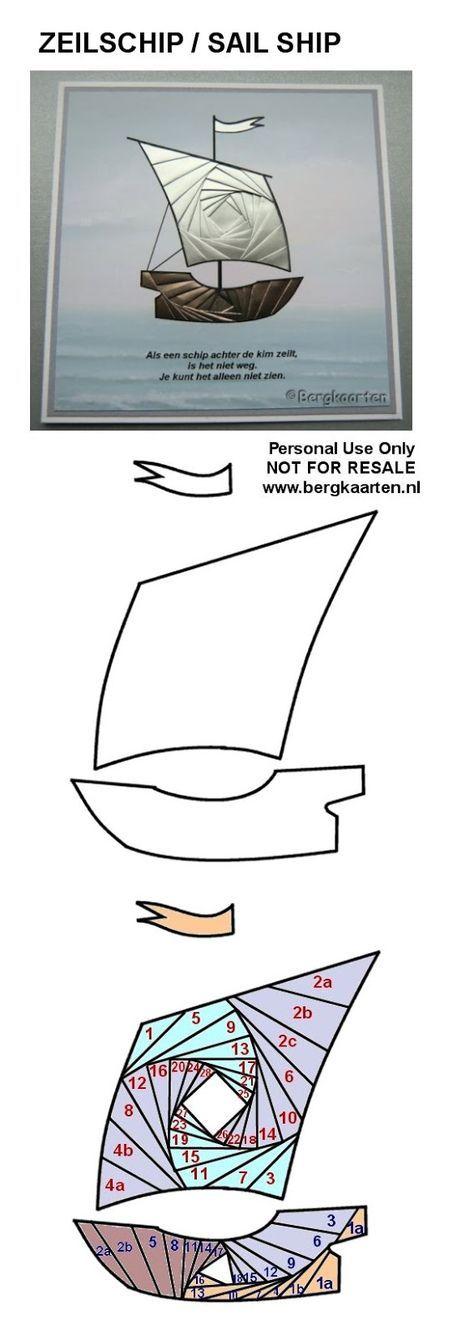 Sailing Ship Iris Fold Pattern
