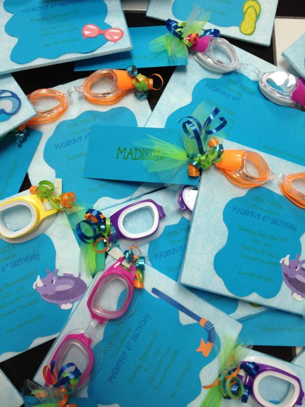 Pool party for kids : Invitations : Goggle pool party invites, what a cute and clever idea!