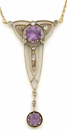 An early Art Deco gold, amethyst and diamond pendant, Russian, circa 1910. Designed as a stylised lotus flower an octagonal amethyst and small brilliant-cut diamonds, suspending a pendant set with a round faceted amethyst drop and two small brilliant-cut diamonds, mounted in 14k yellow gold.