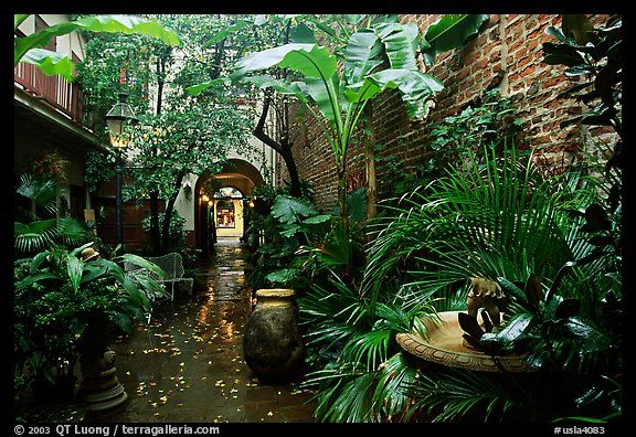 An inside courtyard in the French Quarter. New Orleans, Louisiana, USA