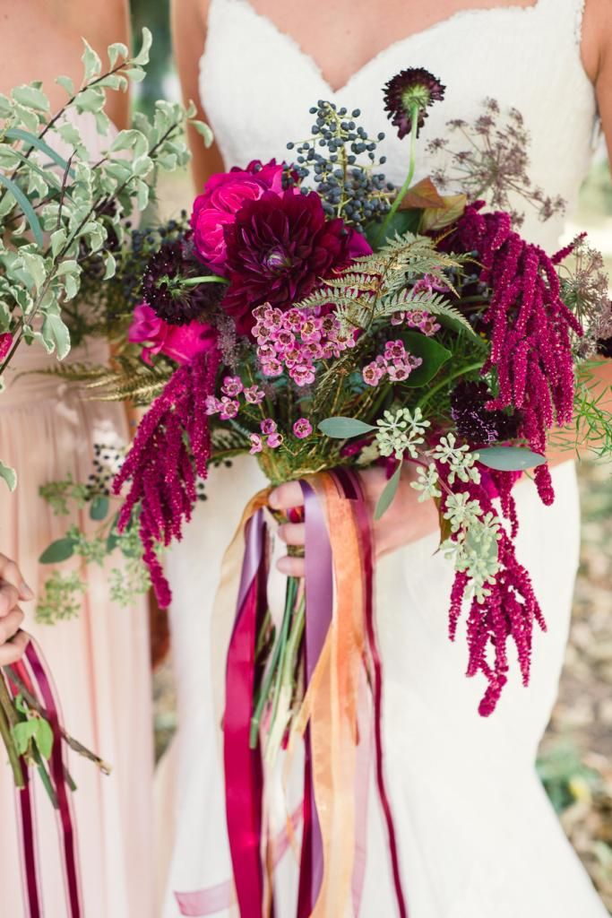 like the loves lie bleeding,small white and pink flowers, fern and dalias, and blue berries!