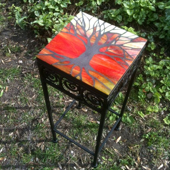 'Tree of Life in Silhouette' Stained Glass Mosaic Table - by Smash Glassworks