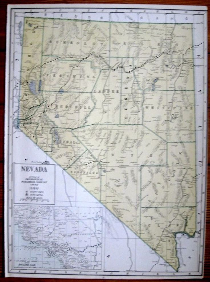 1940 Antique NEVADA Map of Nevada State