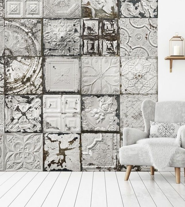 This Is Wallpaper New Tin Tiles Wall Murals Collection By Koziel Ceiling Tiles Accent Wall Vic Tile Accent Wall Wallpaper Accent Wall Accent Wall Entryway