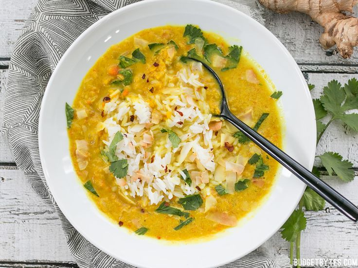 Golden Coconut Lentil Soup is a light and fresh bowl with vibrant turmeric and a handful of fun toppings. Step by step photos.