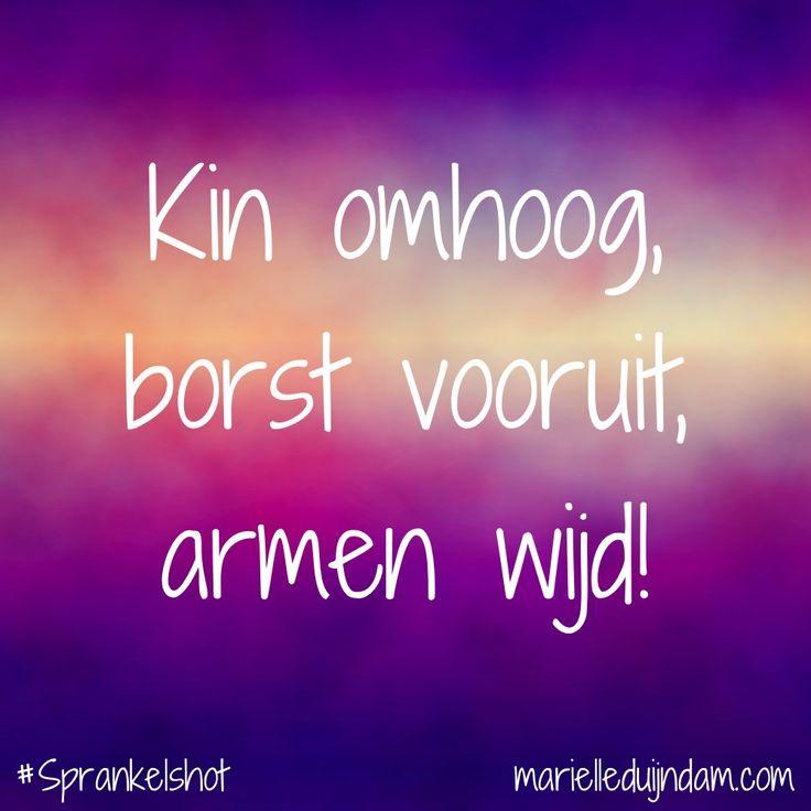 Kin omhoog, borst vooruit, armen wijd! Samen sprankelen + Sprankelmail: MarielleDuijndam.com #Sprankelshot #Affirmaties #Sprankelperspectief #Quotes