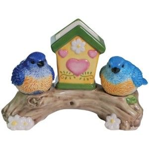 Bluebirds Magnetic Salt and Pepper Set Shakers with Toothpick Holder This is such a cute kitchen accessory or dining table. Beautiful colors and completes any table setting. http://theceramicchefknives.com/novelty-salt-and-pepper-shakers/ Bluebirds Magnetic Salt and Pepper Set Shakers with Toothpick Holder