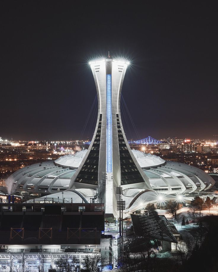 Architecture - Montreal's stadium for the 1976 Olympic games shot at night.