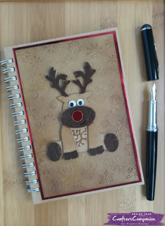 Notebook decorated using Sara Signature Cute Christmas collection designed by Angela Blaney #crafterscompanion