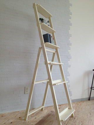 はしご棚 飾り棚 CDラック ホワイト いのか家具