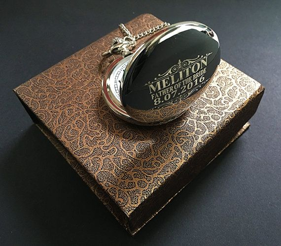 We ship within 24 Hours!!! GET YOUR ORDERS QUICK!!!  Engrave your Initials or name on this silver Vintage style pocket watch. Available in Gold, Silver, Rose Gold or Black/Gunmetal finishes.  This listing is for 1 Custom engraved silver pocket watch with black gift box included.  You can choose your initials or short name and date, or we can accommodate a short message. If you are unsure your engraving details will fit please message us with any questions.  We make ordering personalized ...